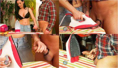 51614 - Mias Ironing Handjob - Perfect cum on hot Iron