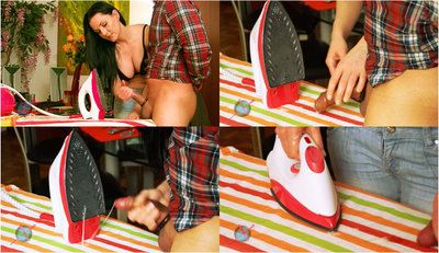58894 - Mias Ironing Handjob - Perfect cum on hot Iron