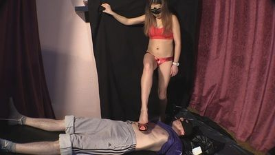 68445 - Kate places shit in her slave's mouth and tortures his body with heels