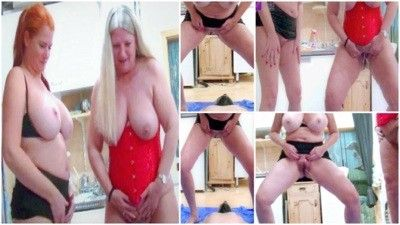 100252 - Four tits for a Hallejula! 2 Milfs piss a slave in the mouth!