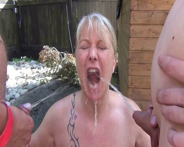 50803 - Bottled with piss by 4 neighboring guys at nude sunbathing in the garden !