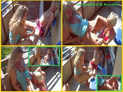 64262 - Jacqueline and Rosella: Lesbo piss depravities and mutual pussy licking on the balcony!