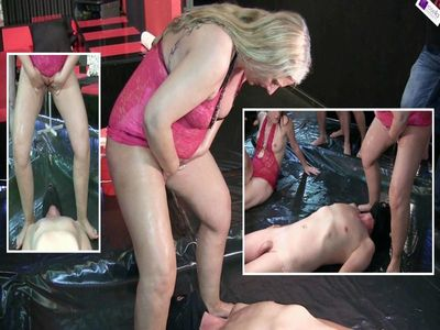 67803 - Slave, on the Mega Dirty Sow Party, pissing in his mouth!