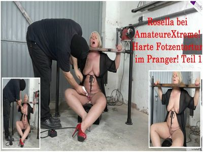 68582 - Rosella to visit at AmateureXtreme: Hard pussies tortur, in the pillory! Part 1