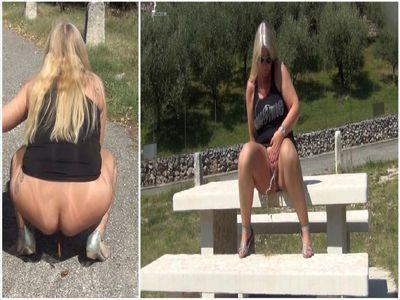 82741 - Horny public pissing and shitting on a viewing platform in Italy!
