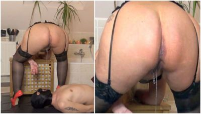 89514 - Hard piss-beam for a slave-mouth!