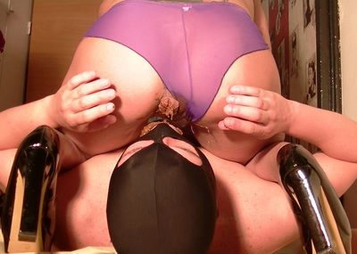 64652 - Superb shitting through a purple seethrough panty