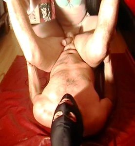71402 - Mistress fucking and strocking cock until cumming