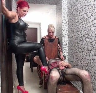 96124 - Goddess Andreea and Nicolle use sissy whore part 3