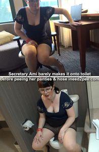 64399 - Secretary Ami peeing her panties pantyhose