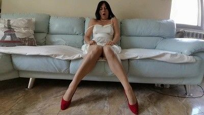 126608 - Desperation of a Hostess - White Dress and Pantyhose Wetting