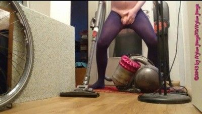 102683 - Erotic vacuuming in blue tights ** FAN Video 7 **