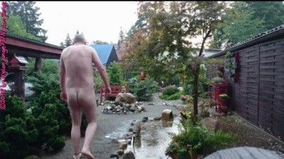 95918 - Naked in the Rain ** Nudist Outdoor **