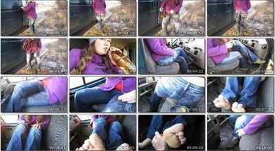 129773 - a lot of piss in jeans and on the car seat.