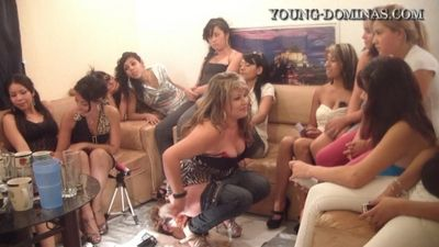 14484 - 14 Girls and a Floor Level Toilet Slave Part 5