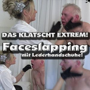 30443 - Face slapping with leather gloves! The claps extremely