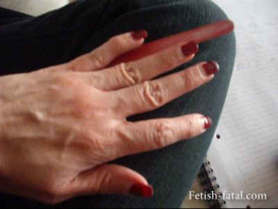 49109 - Virginia Lime red polished nails of his beautiful hands