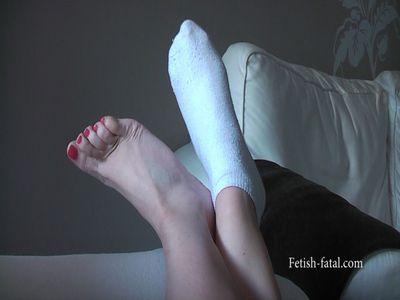 50598 - To clean up and relax on the couch in white socks.....