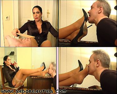 62913 - :: MADAME KYRA :: ''BOSSY LADY GIVING FOOT FETISH TRAINING'' - Hands Spanking with the Ruler, more extreme Shoe Fetish Training with the mean Shoe Brush, Feet Sniffing, Footfetish, Verbal Humiliation, Business Fetish - Part 2 -