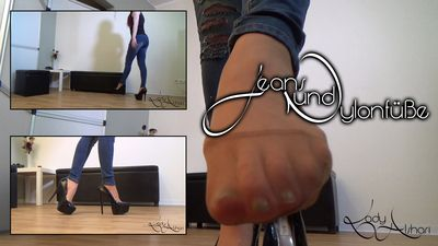 94877 - Jeans And Feet In Nylons