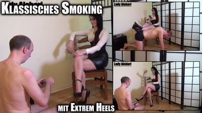 96837 - Smoking In A Classical Outfit With Extreme Heels