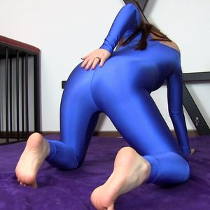 109384 - out my blue spandex catsuit !