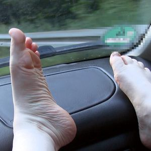 109498 - My feet and soles show off on the dashboard