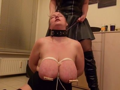 136505 - Tied the big tits of my female slave - wmv