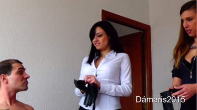 83210 - Damaris and Camil in leather glo