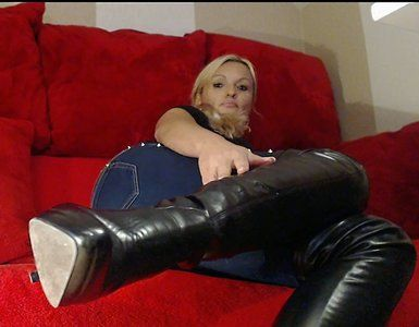 99009 - On the beautiful, black boots masturbation ...
