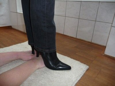 116237 - Trample my slaves hands with black buffalo ankle boots