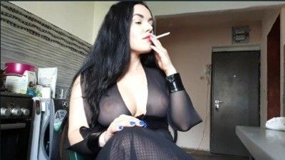 129737 - Goddess Parvati smoking and ashtray humiliation in the kitchen