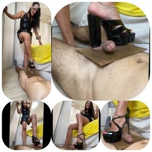 162680 - Goddess Kiffa - CBT 12 - Black heels crush on table - GIANTESS angle - MULES - HARD CBT - TABLE CRUSH - 2 DIFFERENT HIGH HEELS -  FOOT FETISH