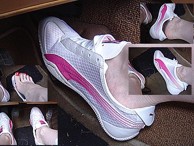 11353 - White/pink PUMA sneakers pedal pumping