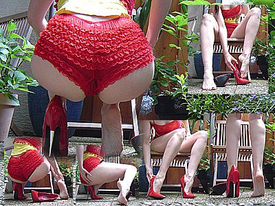 12016 - Red 6inch Spike Heels and red panty in the garden