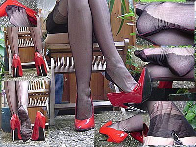 12154 - Sexy nylons and red killer spike heels