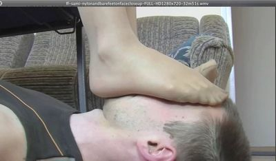 20874 - ff - sami - NYLON AND BARE FEET ON FACE CLOSE UP