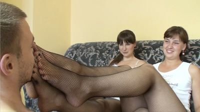 66108 - GIRLS FOOT DOMINATE THEIR SLAVE - FISHNETS PART