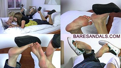 23630 - NTania and Erin, shoeplay in bed