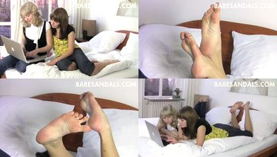 23651 - Tania and Erin, student soles tease on the bed
