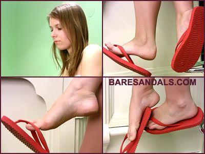 27305 - Jenna, Red flip flops dangling