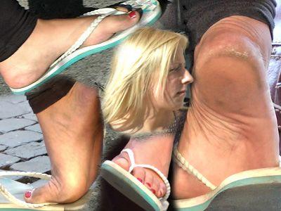 46040 - German small feet play in flip flops candids