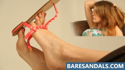 86655 - Selena dangling flat sandals on the couch - update 4136