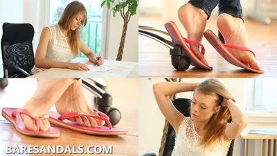 86844 - Student Selena feet and shoeplay in pink flip flops under her desk