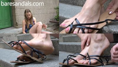 87670 - Selena shoeplay in black strappy flat sandals