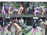 Anna Solis & Rachel dominate slave outdoor
